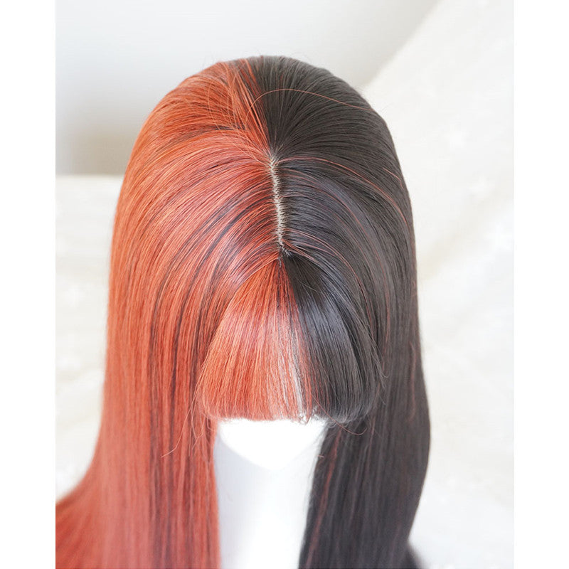 "[@lunasith] ""HALF BLACK HALF WHITE / ORANGE"" LONG STRAIGHT WIG K082207REVIEW"