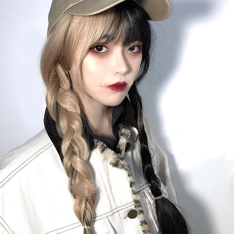 [@bvby.ghoul] HALF BLACK HALF YELLOW LONG WIG K070505REVIEW
