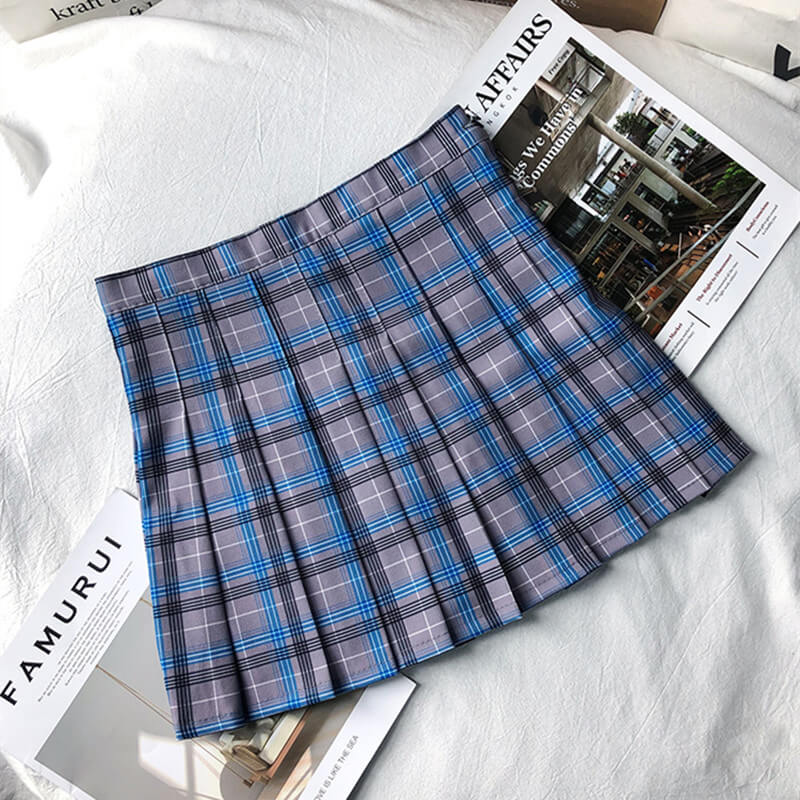 """BLUE GREY PLAID"" SKIRT K052610"
