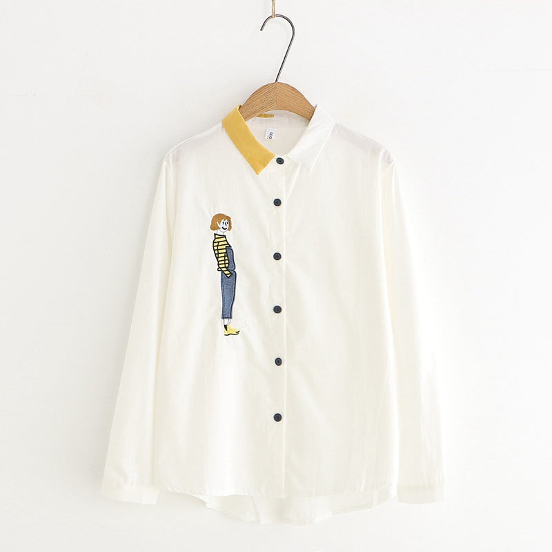 """CARTOON EMBROIDERED STRIPED"" SHIRT Y032501"