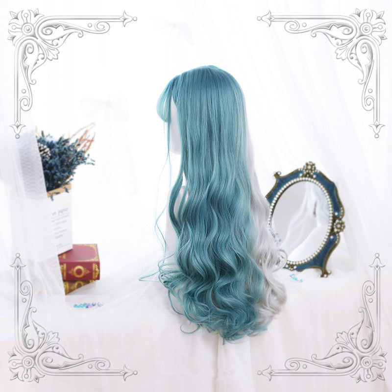 """HALF WHITE HALF BLUE GRADIENT"" LONG CURLY WIG Y020815"
