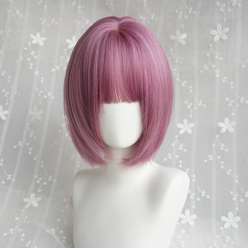 """CUTE PURPLE SHORT STRAIGHT"" WIG Y040401"