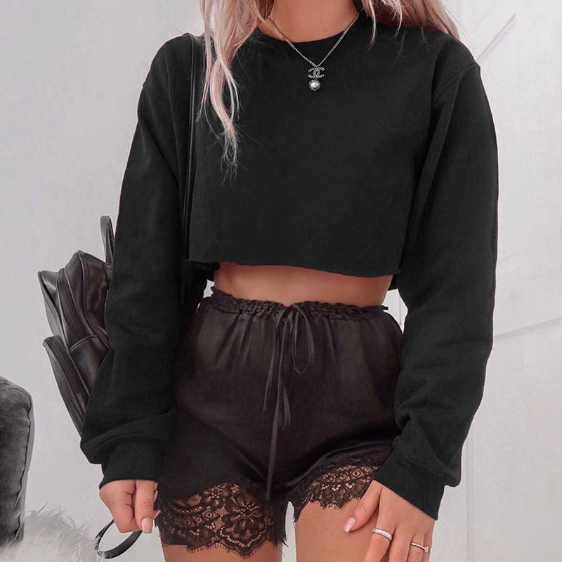 """4-COLOR SOLID COLOR"" LONG-SLEEVED CROP TOP W102702"
