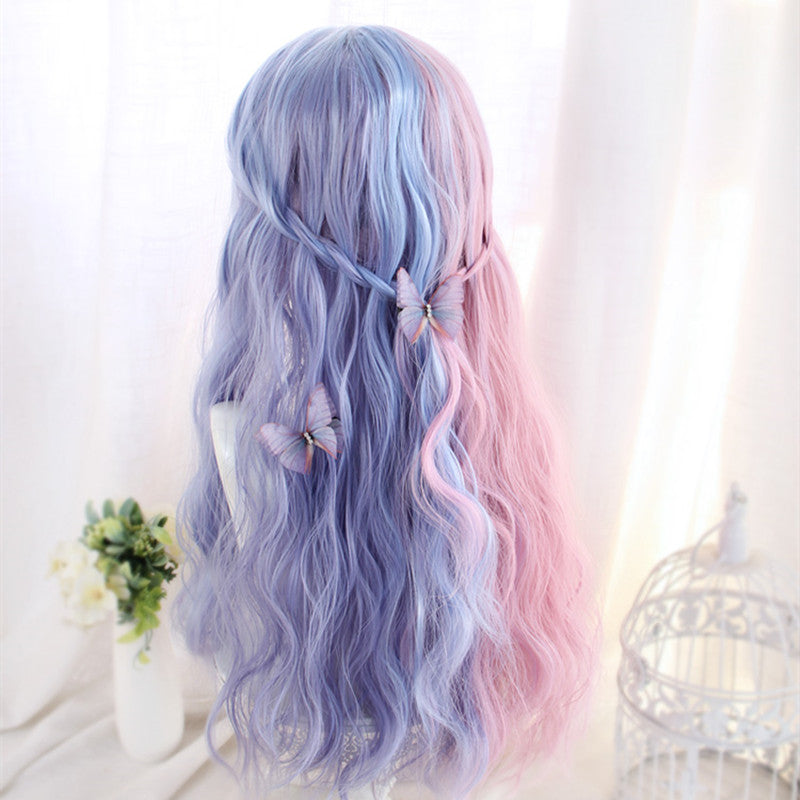 """PINK BLUE LONG CURLY"" WIG D051221"