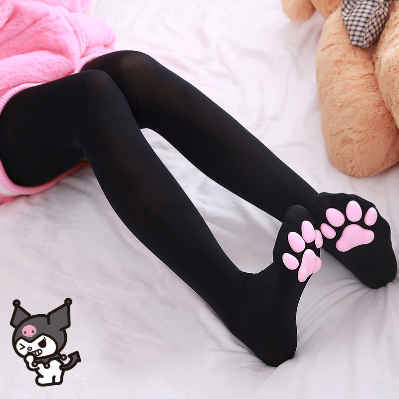 """Black/White Cute Cat Paw"" Over Knee Socks N050401"
