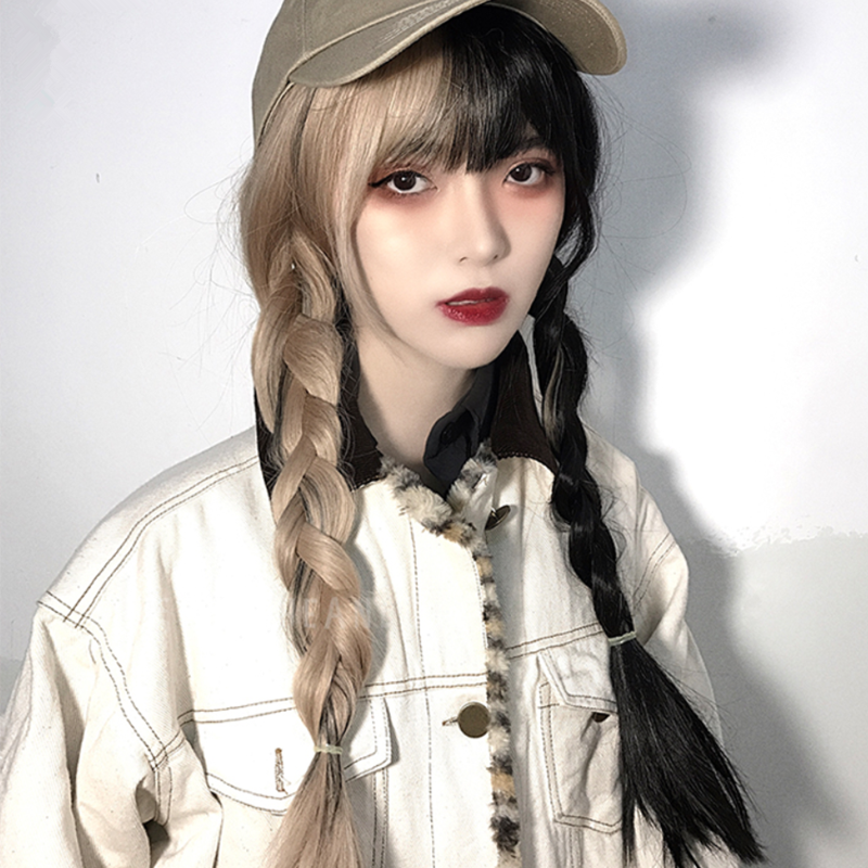 [@itscandycloud] HALF BLACK HALF YELLOW LONG WIG K070505REVIEW
