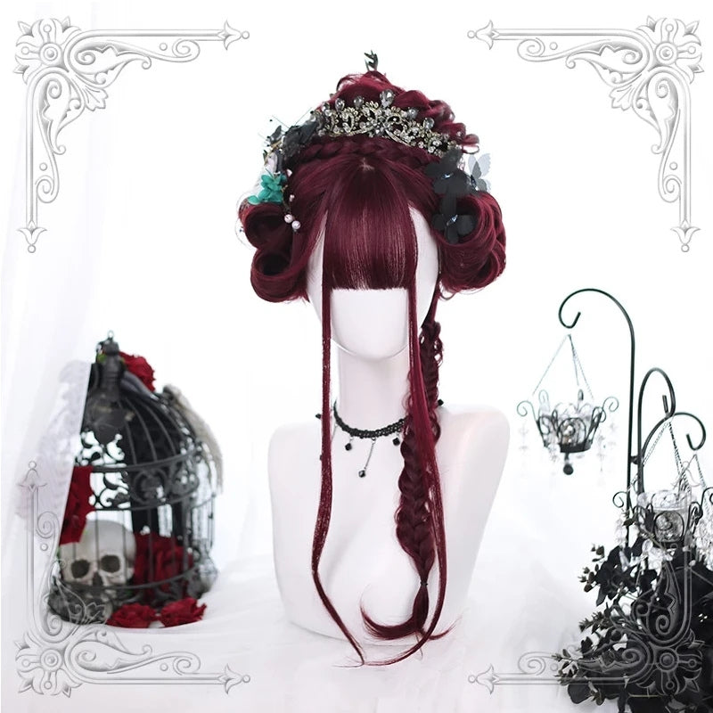 """WINE RED"" LONG CURLY WIG K122813"