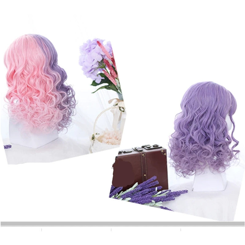 """CUTE HALF PINK HALF PURPLE"" LITTLE CURLY WIG Y021616"