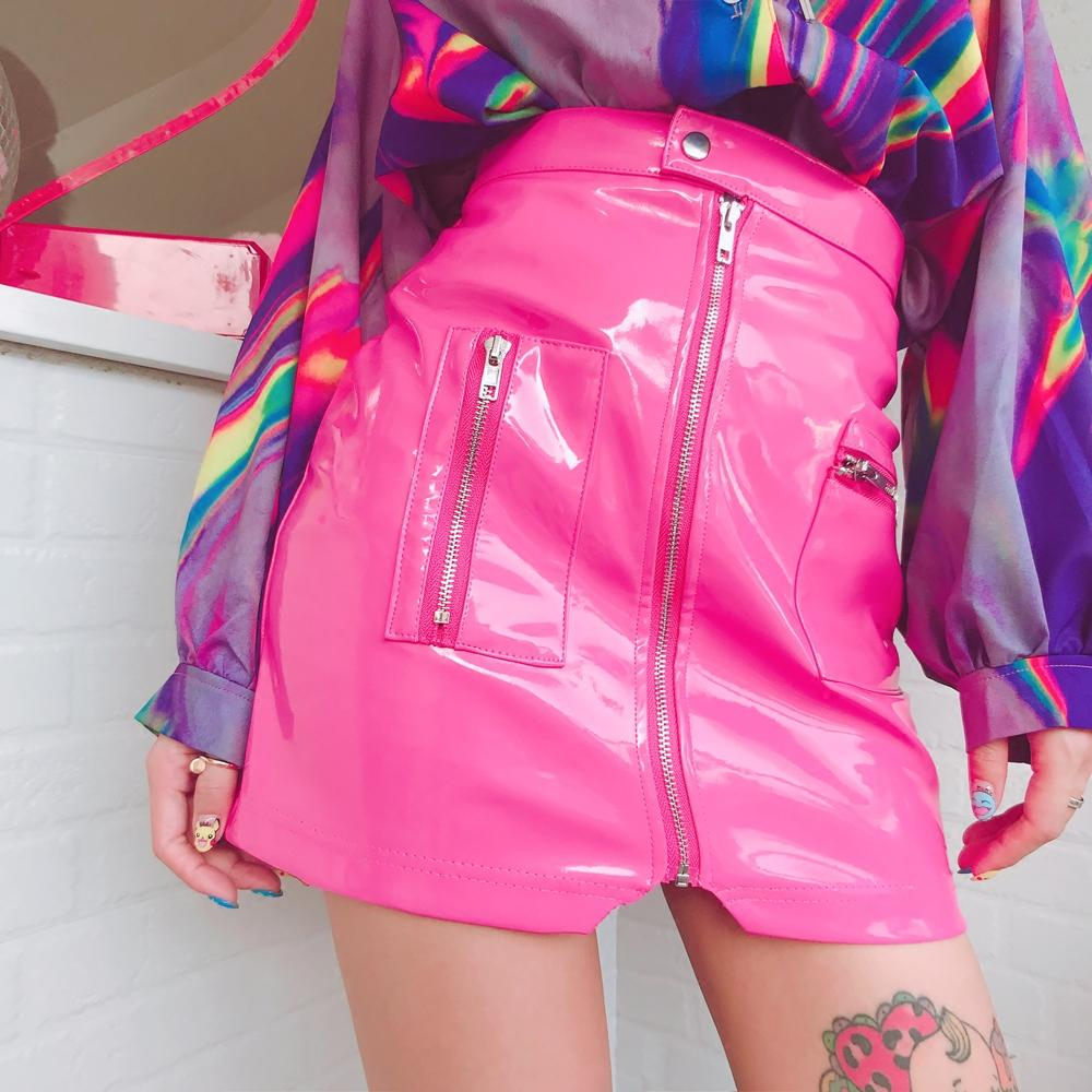 "[@krisspolito] ""PU ZIPPER"" SKIRT K022201REVIEW"