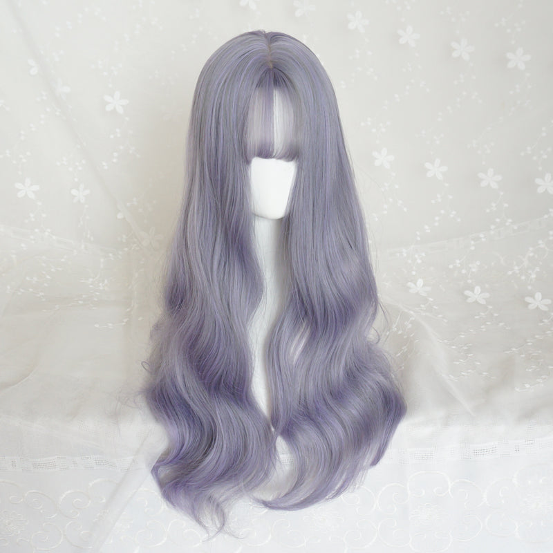 """GRAY PURPLE"" LONG CURLY WIG K082211"