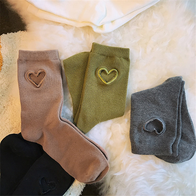 """LOVE HEART CUTOUT"" SOCKS K110801"