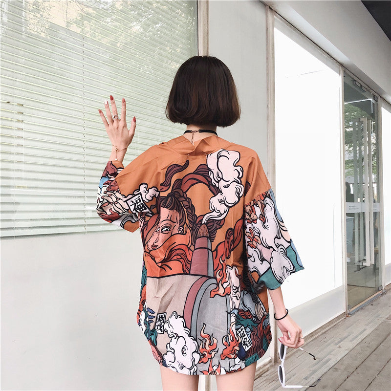 """CARTOON ANIME"" SHIRT CARDIGAN W022701"