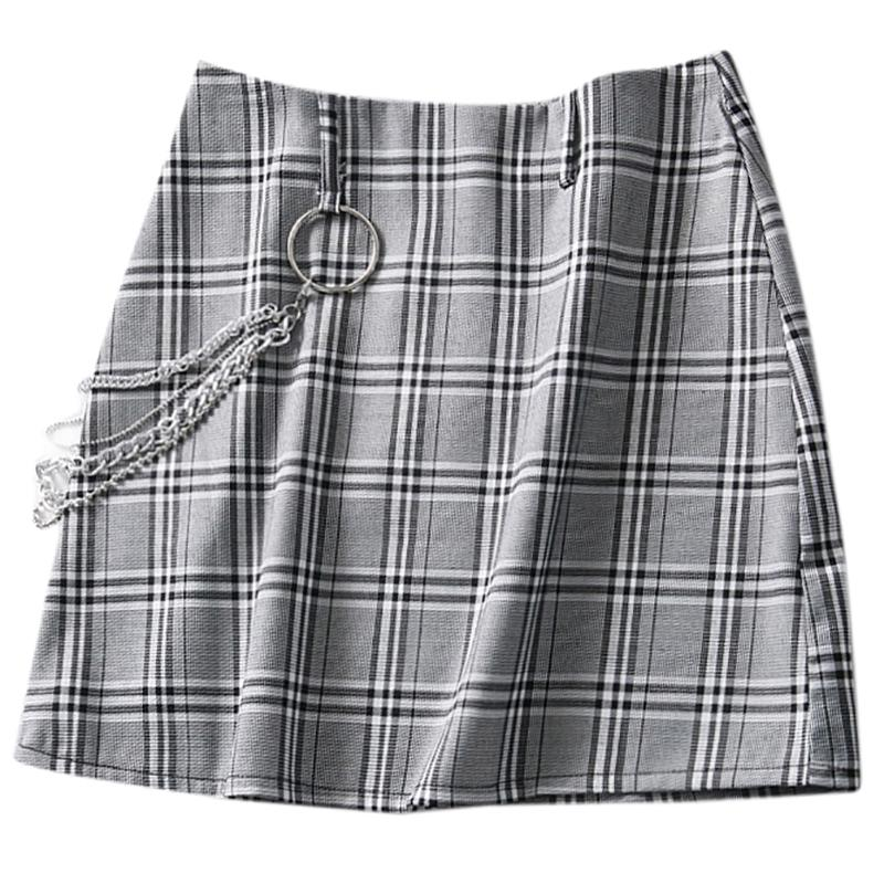 """VINTAGE PLAID"" SKIRT WITH CHAIN K053101"