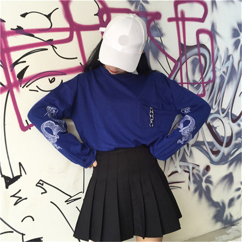 """BLACK/BLUE DRAGON EMBROIDERY"" SWEATSHIRT JUMPER K100307"