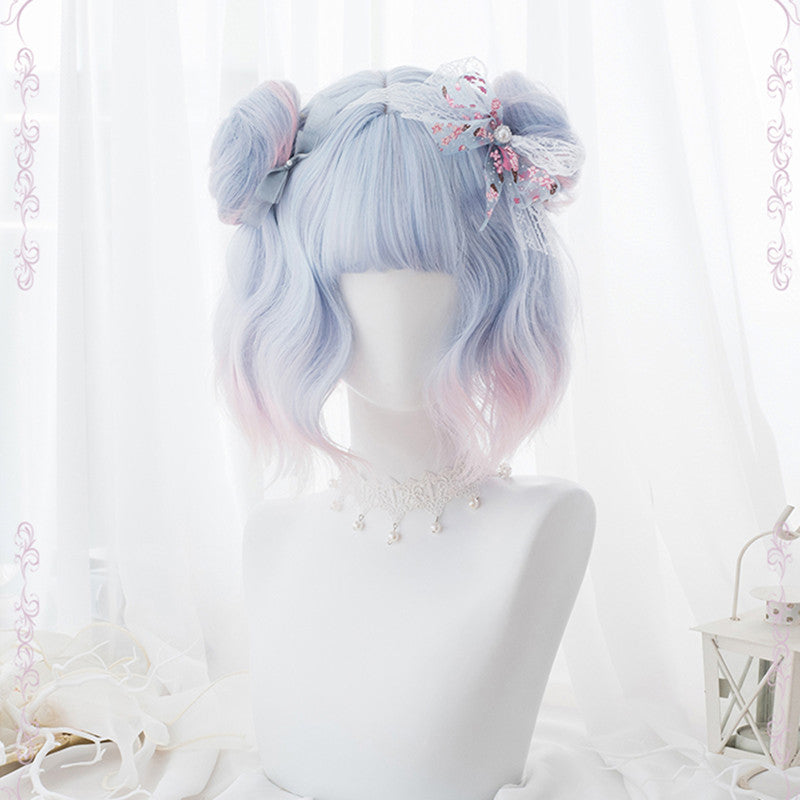 """BLUE-PINK GRADIENT"" SHORT CURLY WIG WITH BANGS K081603"