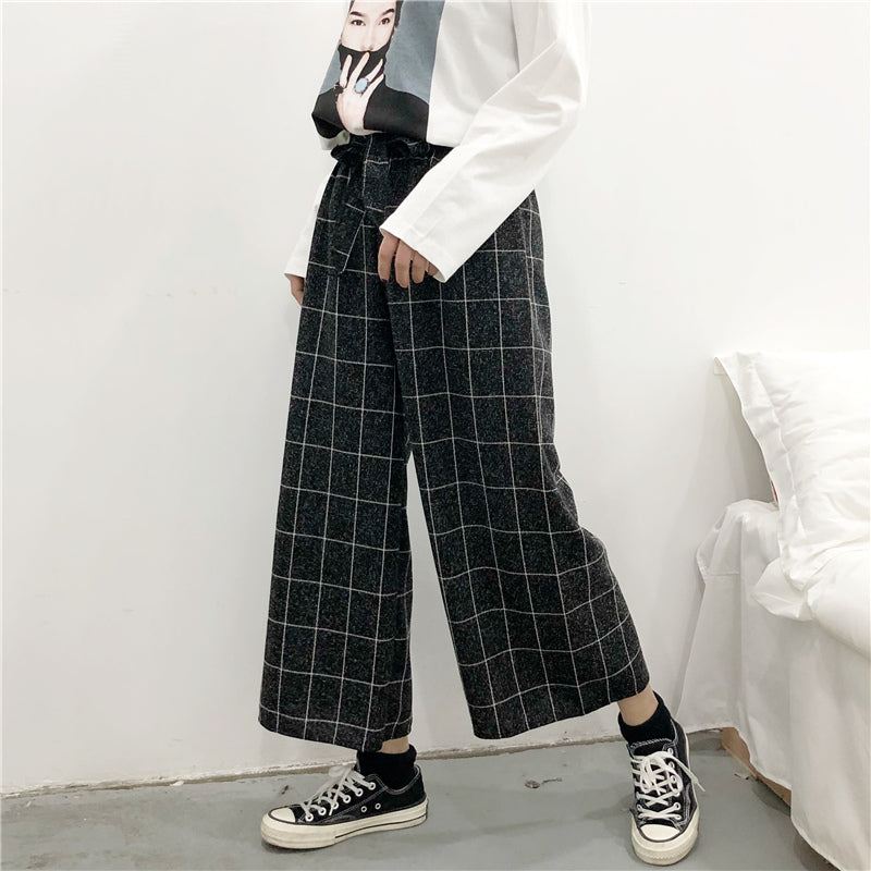 """4 COLORS PLAID HIGH WAIST WIDE LEG"" PANTS K111905"