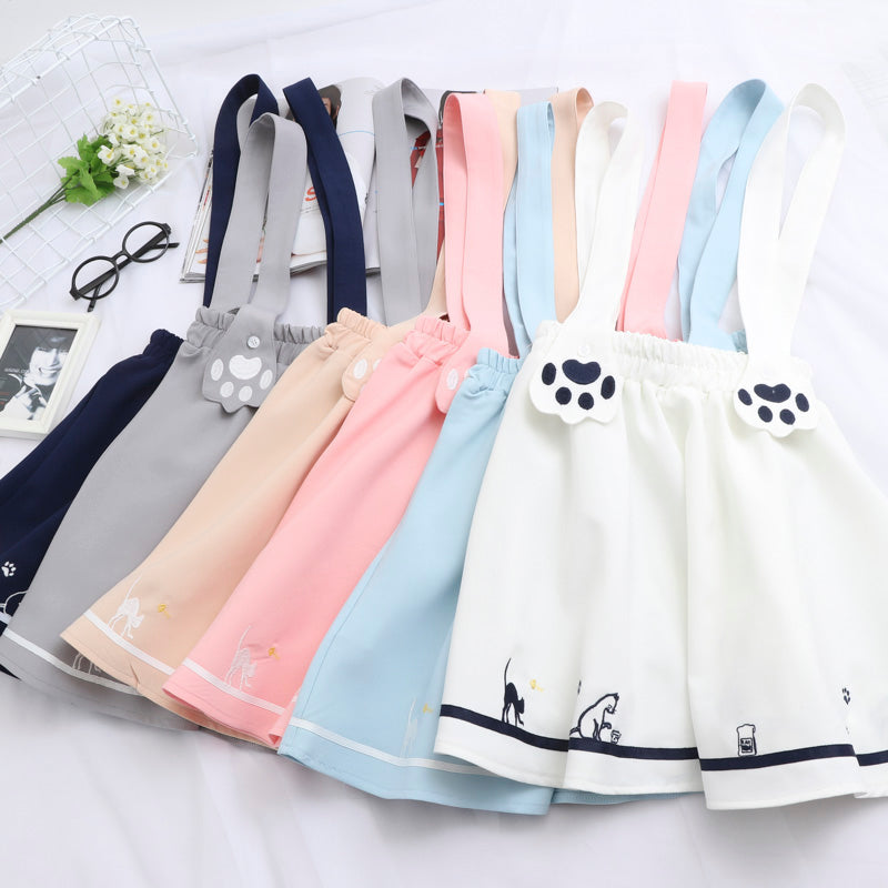 """CUTE CAT PAWS"" STRAP SKIRT K060906"