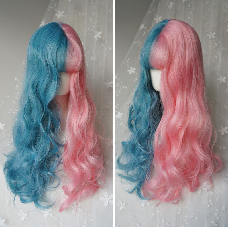 """PINK & BLUE CUTE BIG WAVE"" WIG K071202"