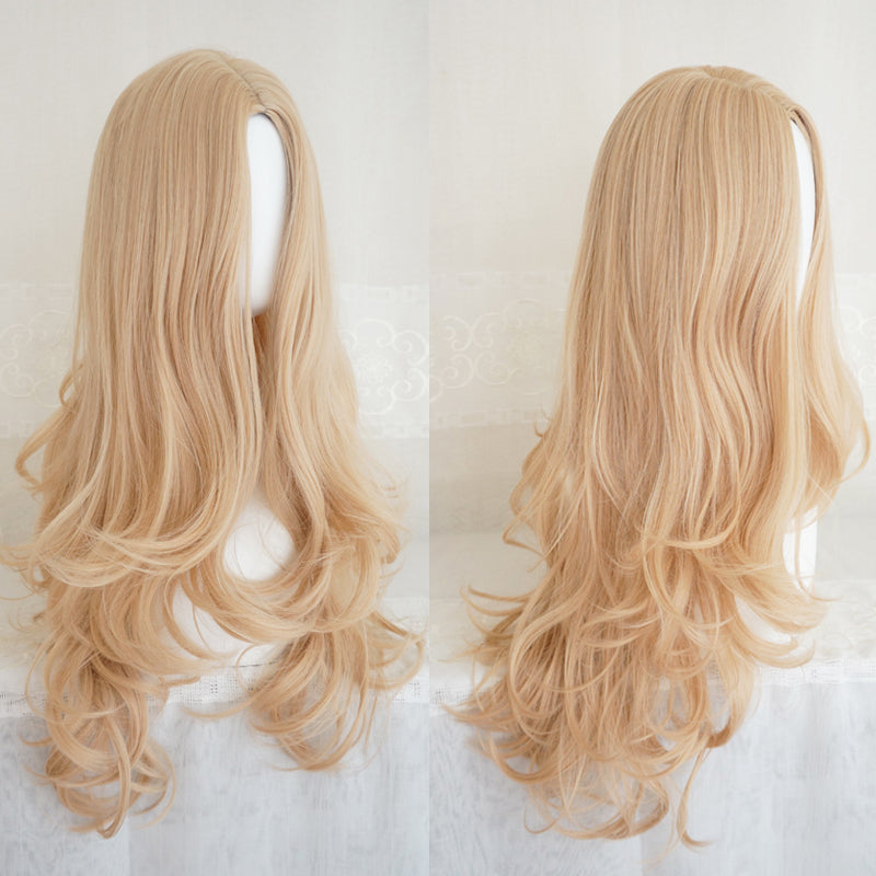 """GOLD BIG WAVY"" LONG CURLY WIG K081601"