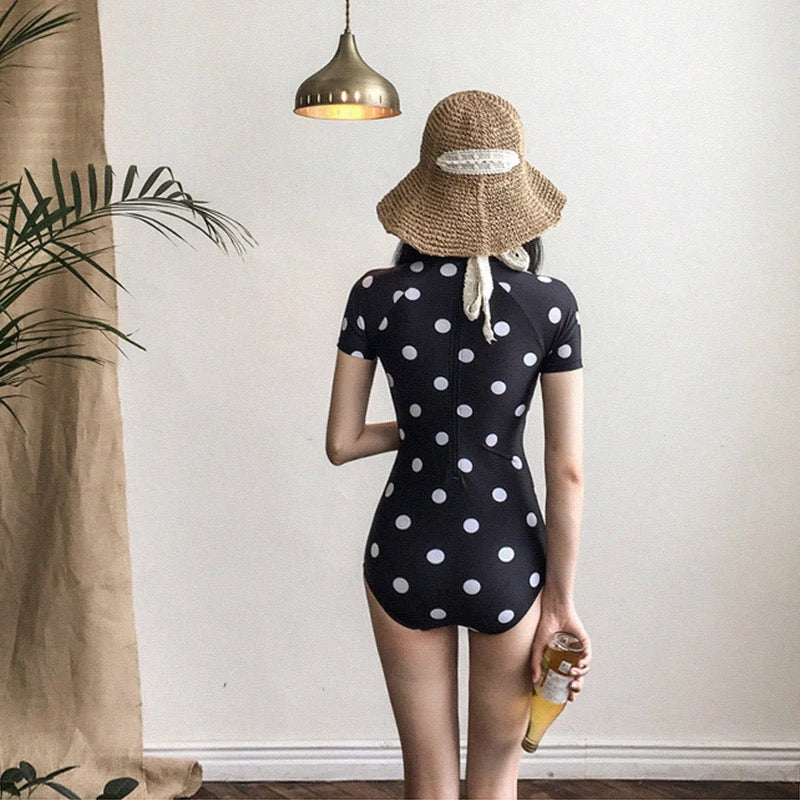"""RETRO POLKA DOT SHORT SLEEVE"" ONE PIECE SWIMSUIT K042902"