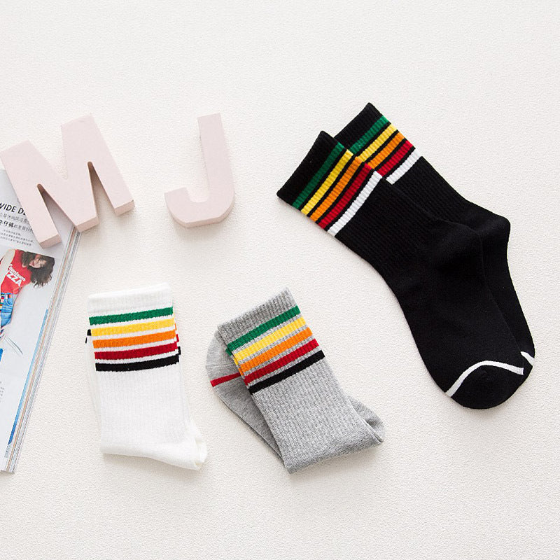"""RAINBOW STRIPES"" BOTTOMS SOCKS W010423"