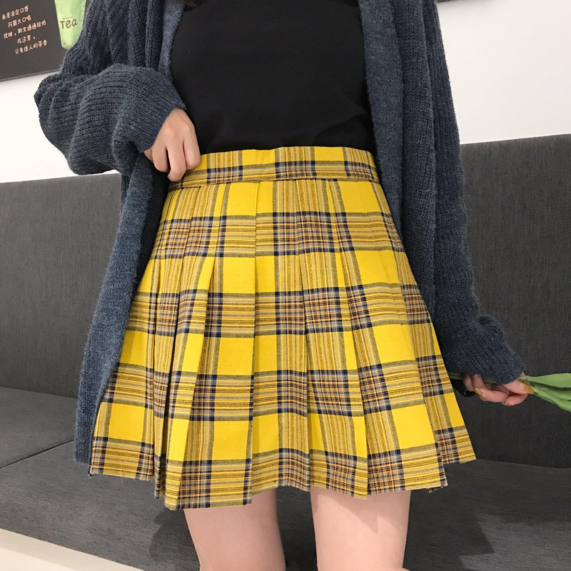 """XS-5XL PLUS SIZE YELLOW/BLACK PLAID"" PLEATED SKIRT K110804"