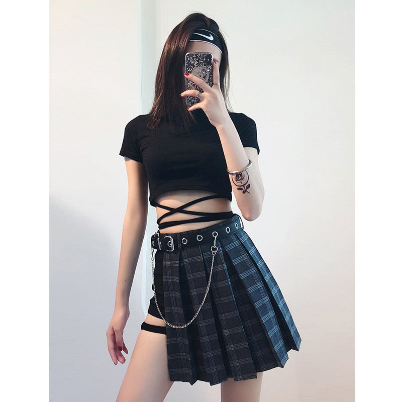 """GOTHIC RETRO PLAID"" PLEATED SKIRT 3 PIECES K022001"