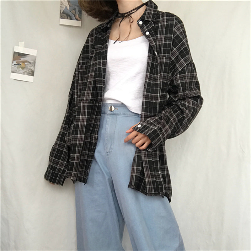 """BLACK/PINK/GRAY/BLUE PLAID"" LONG SLEEVED BLOUSE K090703"
