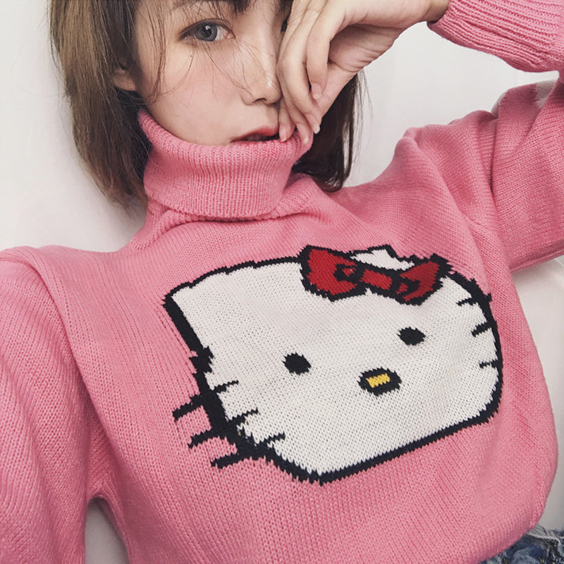 """HELLO KITTY"" CROP TOP SWEATER K030502"