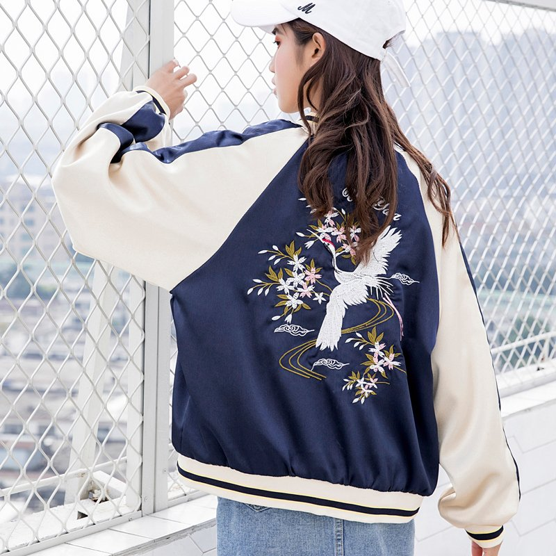 """EMBROIDERED FLOWERS CRANE"" JACKET SHORT COAT K100305"