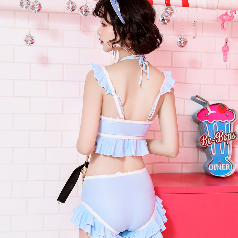 """BLUE CUTE SPLIT"" SWIMSUIT K042703"