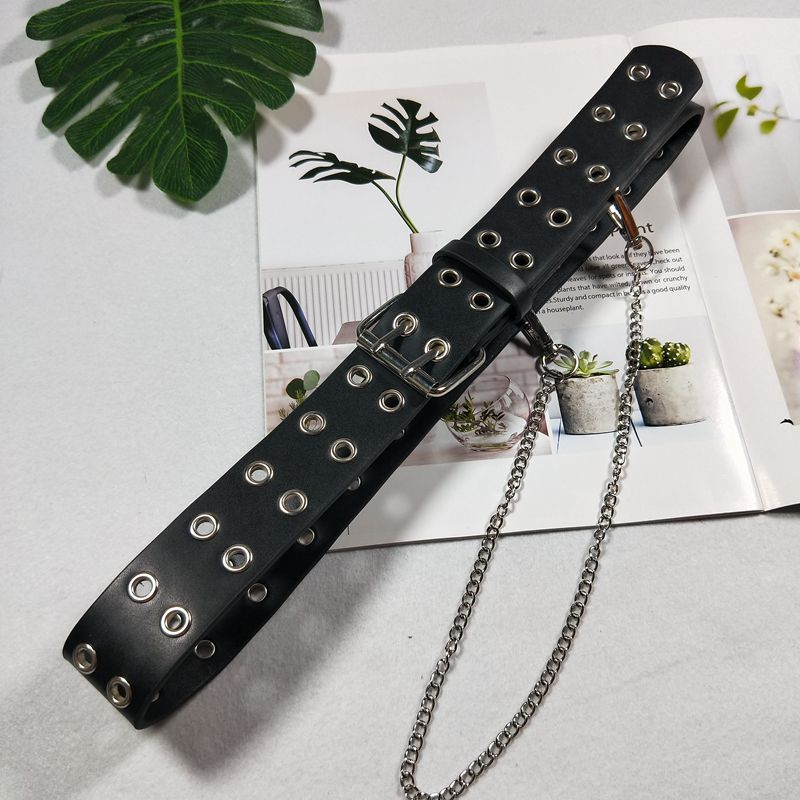 """PUNK CIRCLE HOLE CHAIN"" BELT K041802"