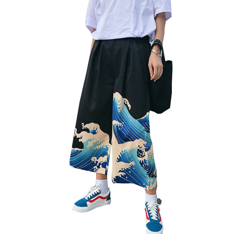 """ULZZANG HARAJUKU WAVES"" WIDE LEG PANTS K071309"
