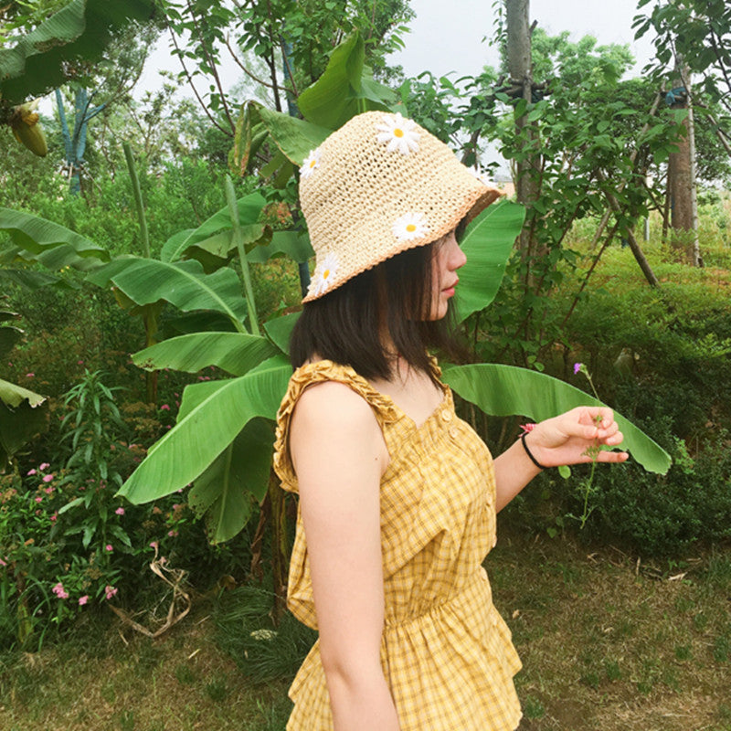 """CHIC DAISY"" STRAW HAT FISHERMAN HAT K061416"