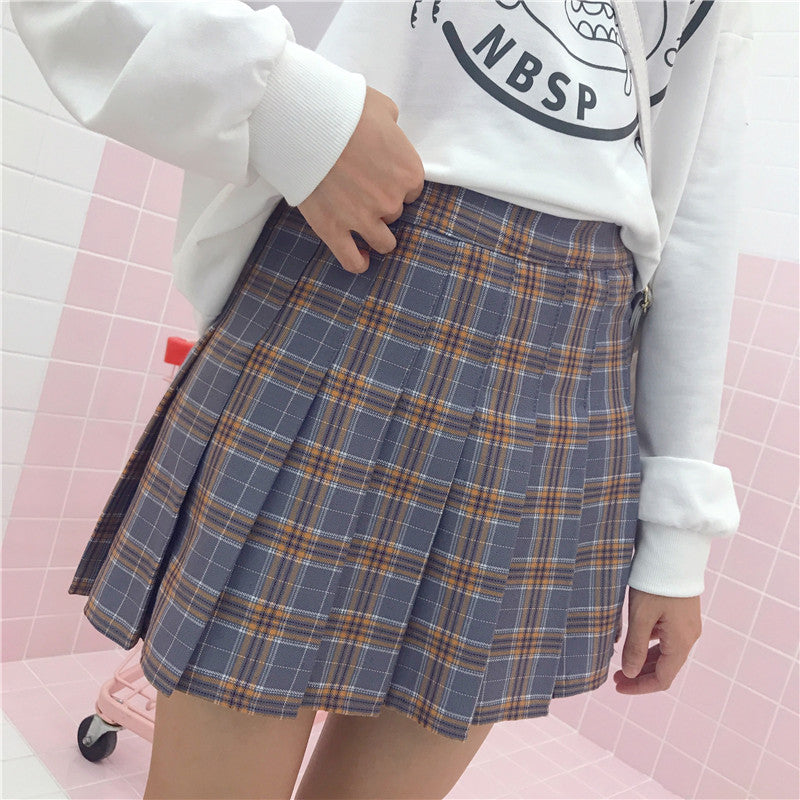 """3 COLORS CHIC PLAID"" PLEATED SKIRT K111821"