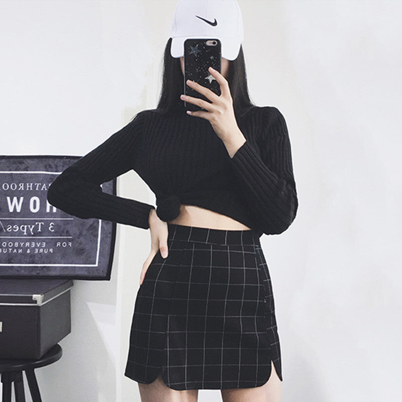 """STRETCH PLAID PETALS HIP"" SKIRT K052703"