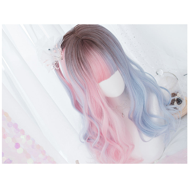 """GRADIENT BROWN BLUE PINK"" LONG ROLL WIG K102308"