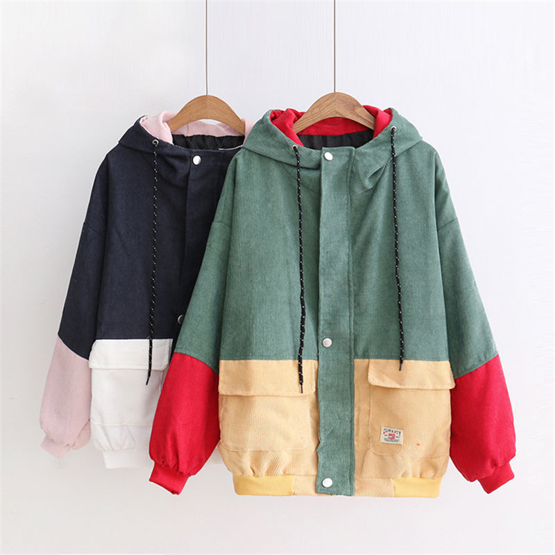 """HARAJUKU MIXED COLORS CORDUROY"" HOODED LOOSE CARDIGAN K102201"