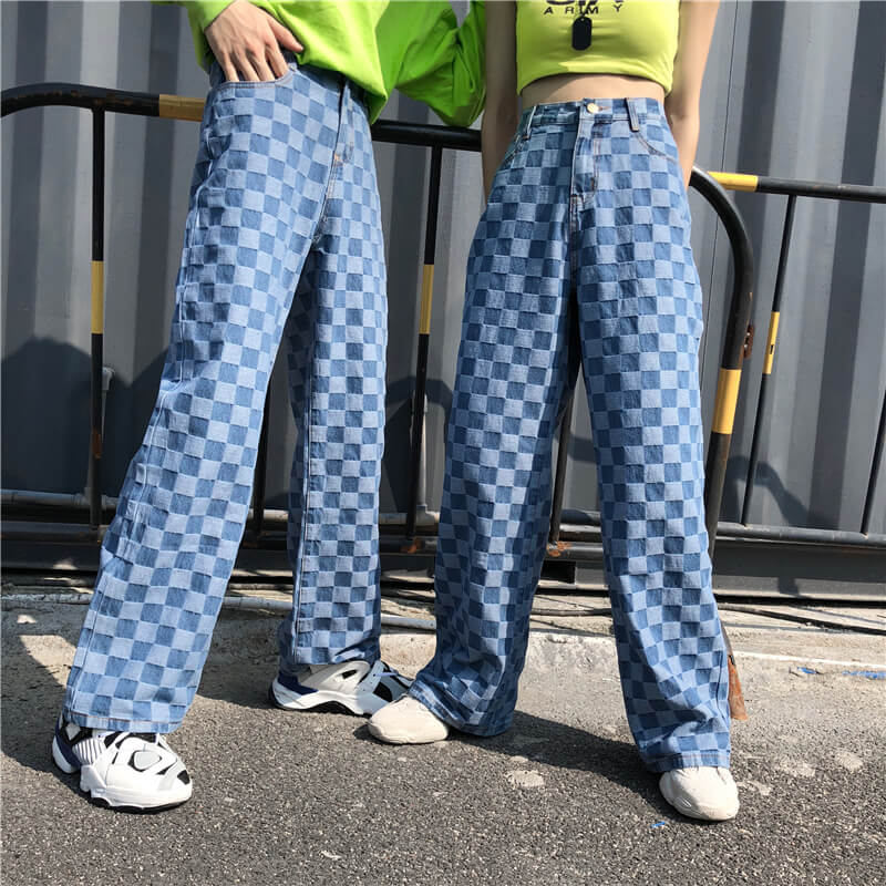 """RETRO BLUE PLAID"" JEANS K060610"