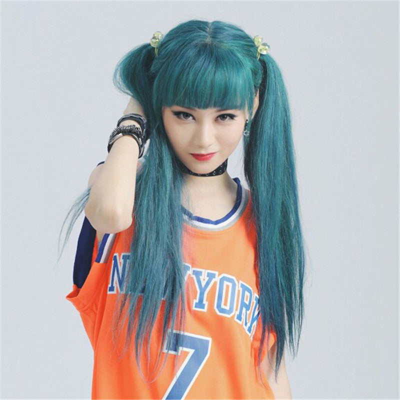 BLUE-GREEN LONG STRAIGHT WIG K071712