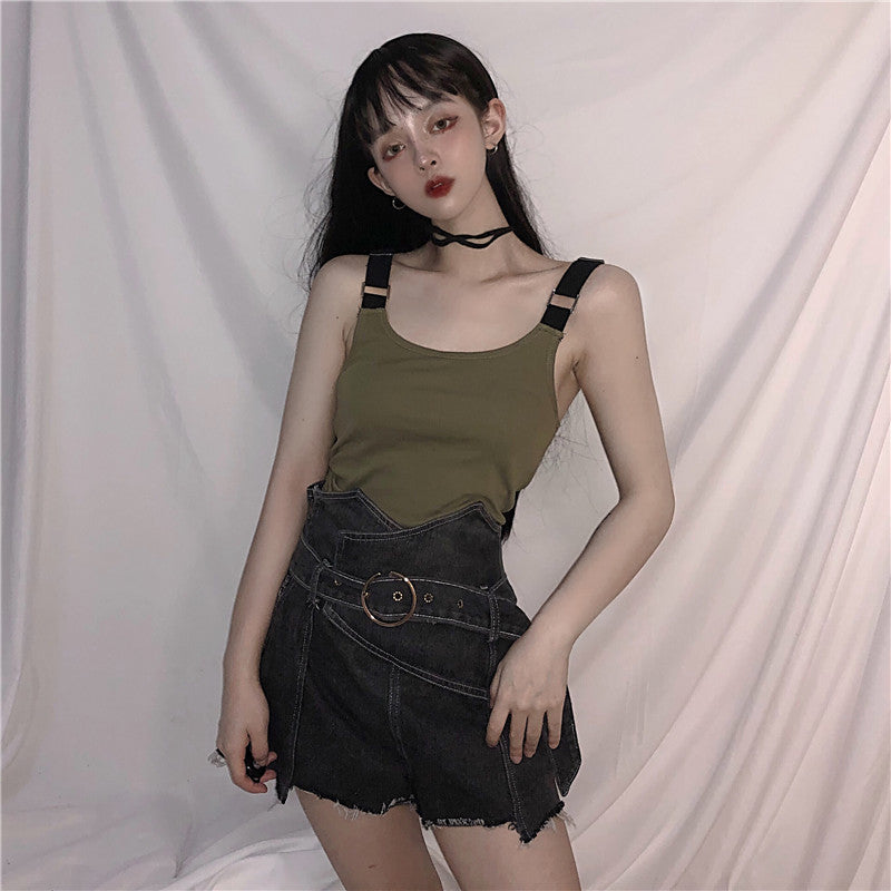 ULZZANG CAMISOLE TOP VEST + HIGH WAIST DENIM SHORTS K070204