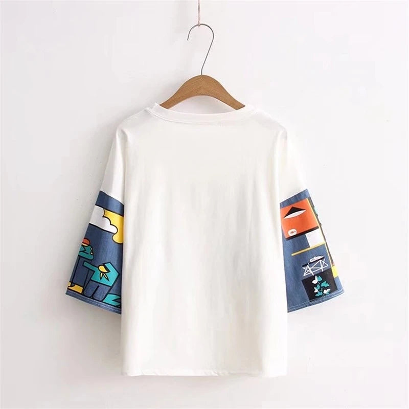 """ROUND NECK PRINT COLORBLOCK"" SHORT SLEEVE Y032502"