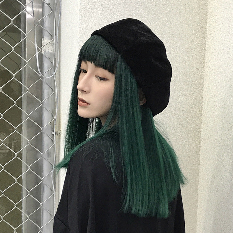"""DARK GREEN MEDIUM LONG STRAIGHT"" WIG K071710"