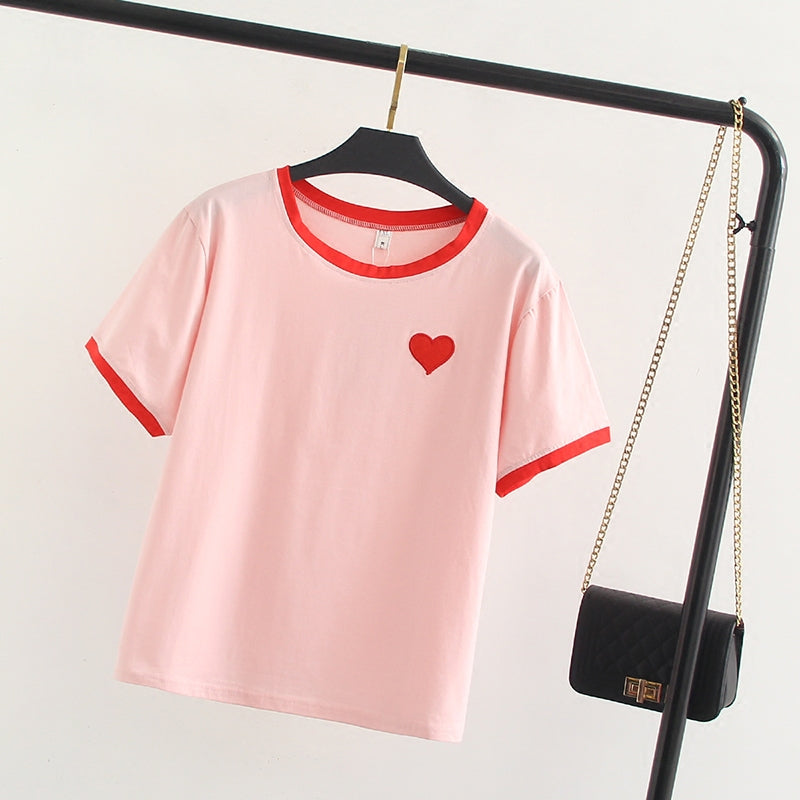 """LOVE LOVE LOVE EMBROIDERY"" T-SHIRT W032103"
