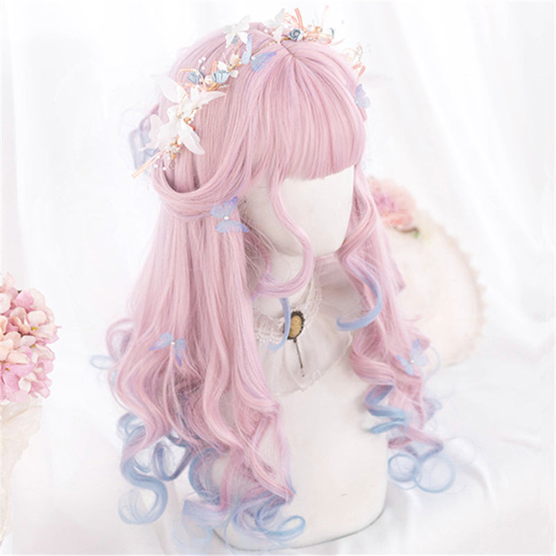 """PINK BLUE GRADIENT LONG"" WIG D071507"