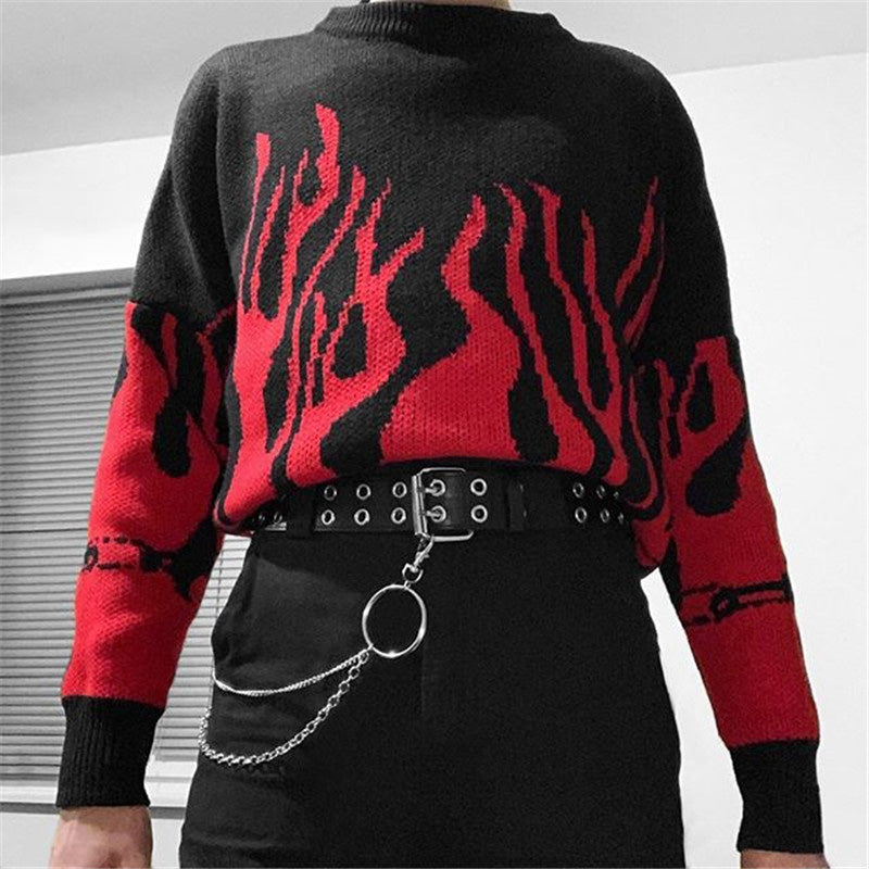 "[@grunge_xx] ""FLAME RED PURPLE"" PULLOVER SWEATER K071310REVIEW"