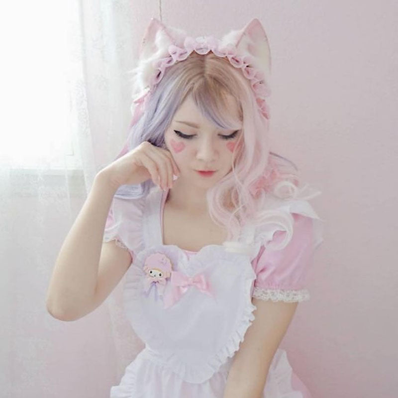 "[@milkiiprincess ] ""HALF BLUE HALF PINK CURLY"" LONG WIG D042008"