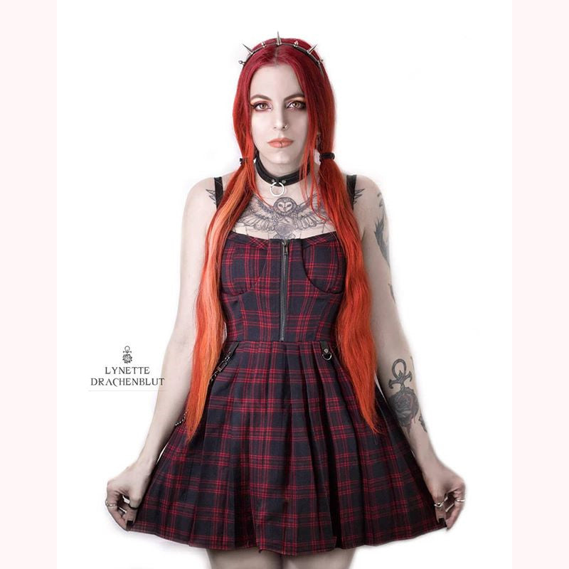 """RED BLACK PLAID PLEATED STRAP"" DRESS D060503"