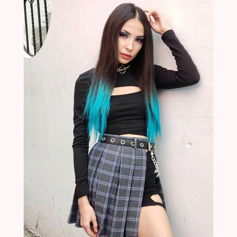 """RETRO GOTHIC PLAID"" SKIRT 3 PIECES K022001"