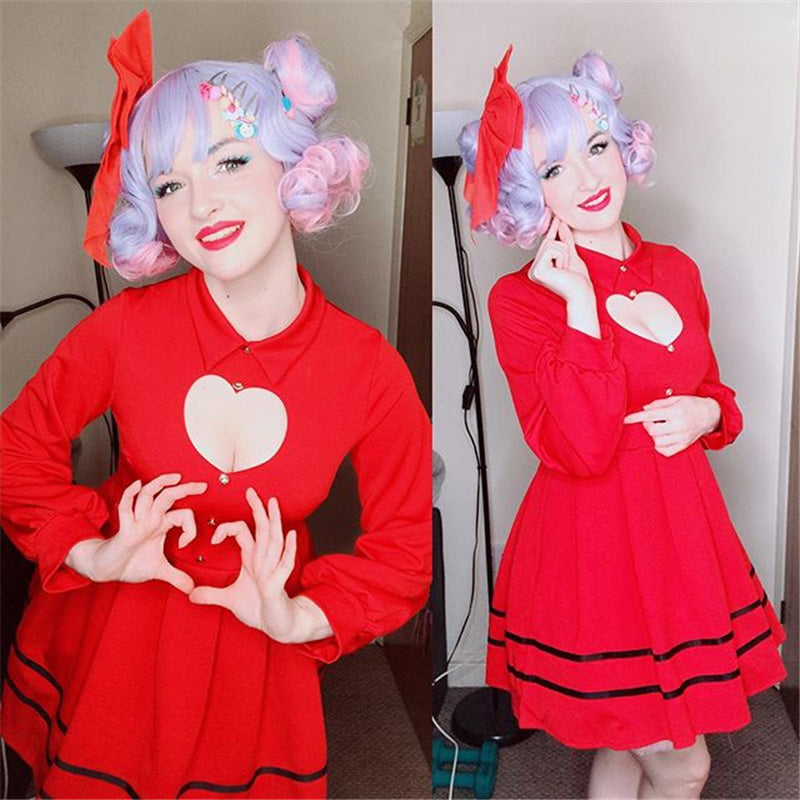 """BLACK/RED SWEET LOLITA LOVE HEART HOLLOW"" DRESS K092404"